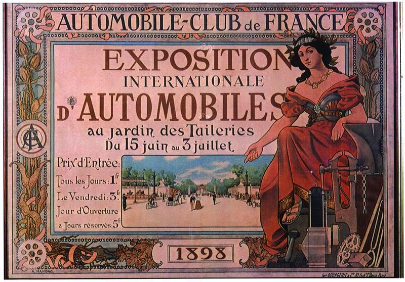 Première exposition de voiture aux Tuilerie en 1898